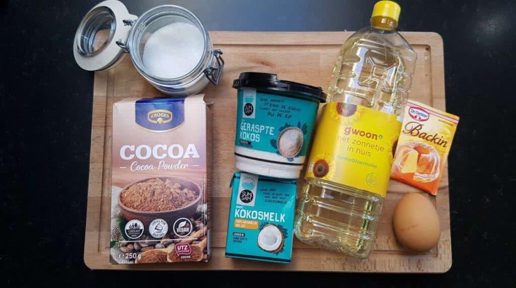 Chocolate Coconut Mug Cake ingredients